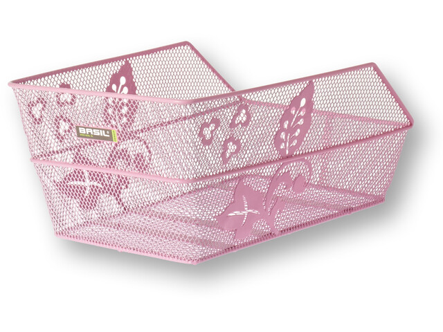 Basil Cento Flower Rear Wheel Basket fine-meshed pink